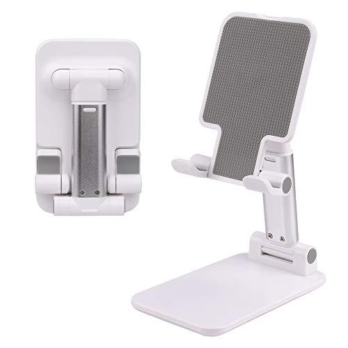 MengH-SHOP Soporte para Teléfono Móvil Soporte de Escritorio Móvil Plegable Teléfono Multi-Angulo Ajustable Soporte para Tablets Smartphone Blanco