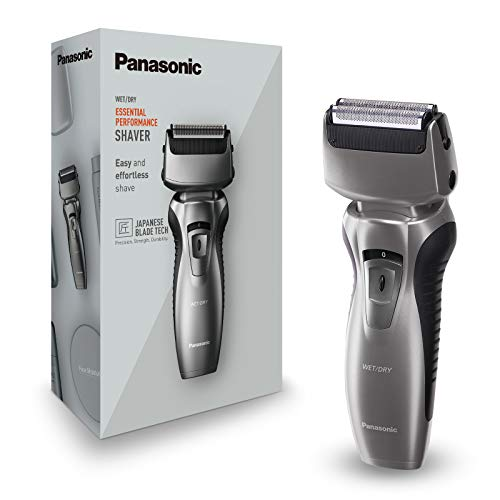 Panasonic ES-RW33-H503 Rasoio Elettrico Wet&Dry a 2 Lame, Senza Filo, Tagliabasette, Ricarcabile, Testina Orientabile 8D, Silver