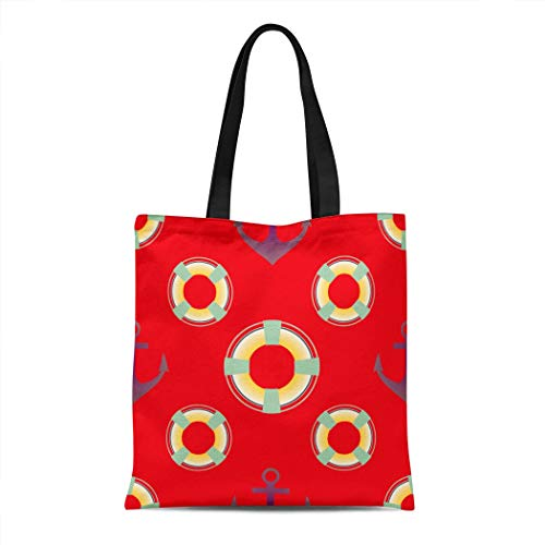 Docady Canvas Tote Bag Reusable Anchorage Marine Anchors And Lifebuoys April 16'x14' Durable Print Natural Large Capacity Multifunction Pocket Groceries Container