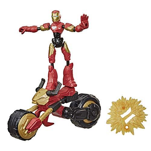 Marvel Bend and Flex, Figura de acción de Iron Man Piloto Flex, Figura de 15cm y Mmoto para niños a Partir de 6 años