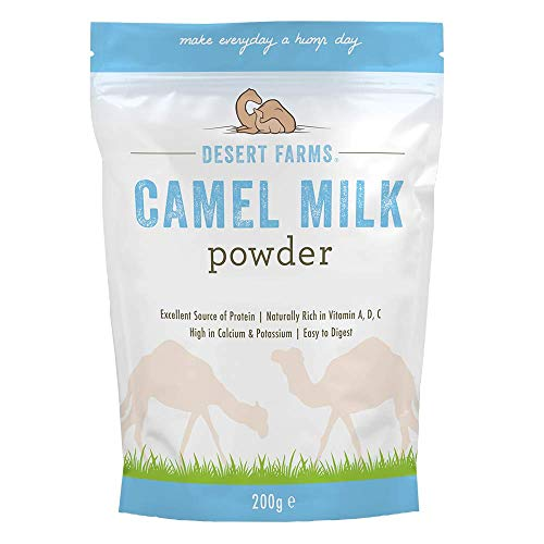Desert Farms Organic Whole Camel Milk Powder - Certified PALEO and KETO Grass Fed Non-GMO Easy to Mix Powder Milk - Excellent Replacement For Goat and Soy Milk [7 Ounce] Packaged In The USA