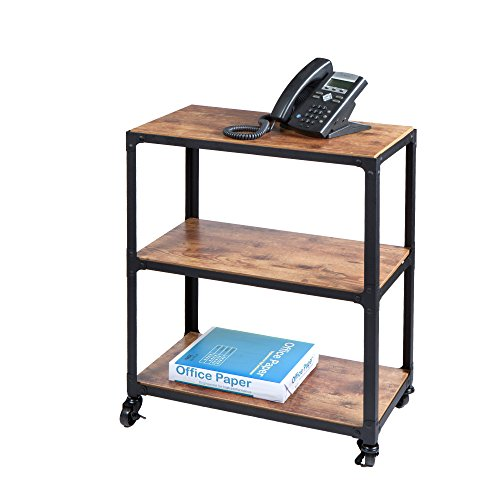 Mind Reader Charm 3 Tier Wood/Metal Untility Cart, Black/Brown