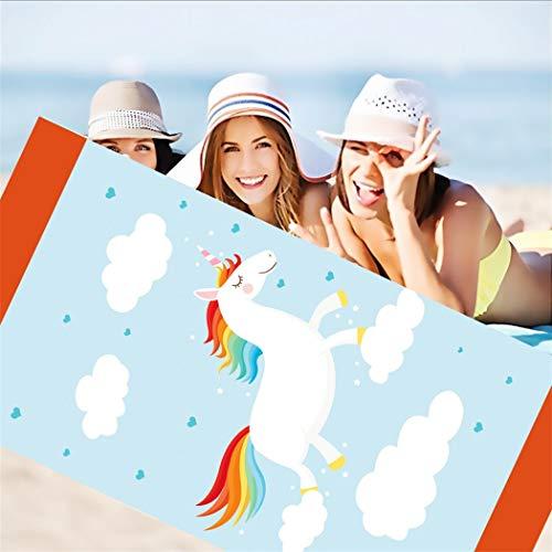 DXSX Unicornio Infantil niñas de Toalla de Playa Super Suave Absorción de Agua Toalla de baño de Microfibra Esterilla de Yoga Manta de Picnic 75x150 cm (Estilo #2)