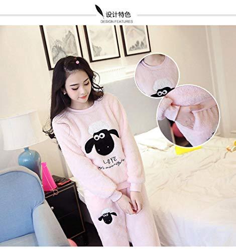 B/H Pijamas cómodos para Mujer,Pijama de Franela de Invierno, Traje de Servicio a Domicilio de Lana de Coral de Talla Grande-Goat Meal_M