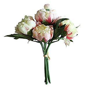 Artificial and Dried Flower Peony Bouquet Fake Peony Flower Artificial Silk Begonia Blue Rose Bridesmaid Bouquet Flower Home Wedding Flowers 0
