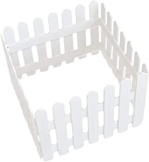 Yardwe Miniature Wooden Picket Fence for Christmas Tree Wedding Party Decoration (1.2 x 0.3m,White)