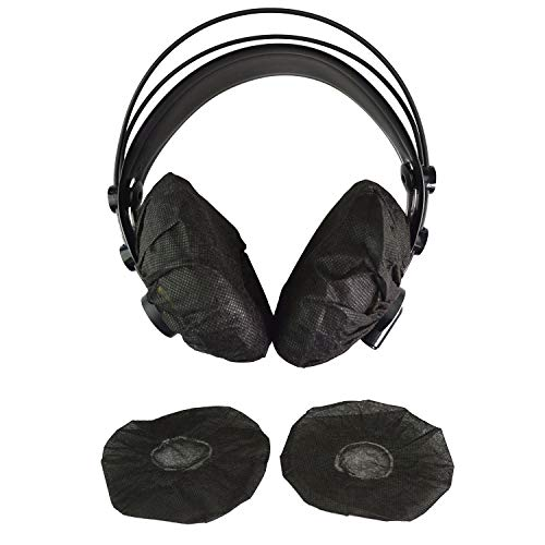 Tvoip 100Pcs Black Non-Woven Sanitary Headphone Ear Cover, Disposable Super Stretch Covers Germproof Deodorizing and Washable, for Most On Ear Headphones with 10~12cm Earpads (XL - 13cm)