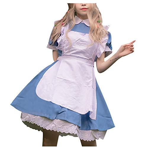 YYQX 2021 Neu Damen Maid Cosplay Kostüm Kleider Sexy Lolita Kleid Maid Dress mit Weißer Schürze und Kopfbedeckung Uniformen Abendkleid Party Festlich Karneval Kostüm