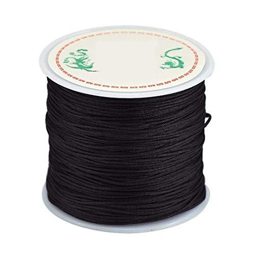 0.8mm Nylon Cord, Thread Chinese Knot Macrame Rattail Bracelet Braided String (Black)