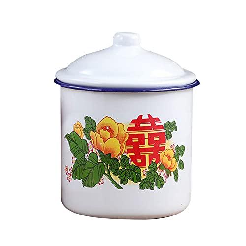 Shubiao Praktische chinesische Emaille-Tasse mit Deckel, für Reisen, Zuhause, Büro, mit großem Fassungsvermögen, 750/1100/3000 ml
