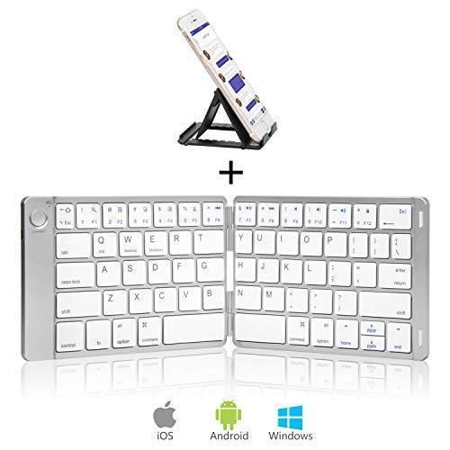 Sounwill Foldable Keyboard, Wireless Portable Keyboard with Stand Holder, Pocket Size Ultra Slim Premium Leather Folding Keyboard Compatible iOS Windows Android Smartphone, Tablet, Laptop-Silver