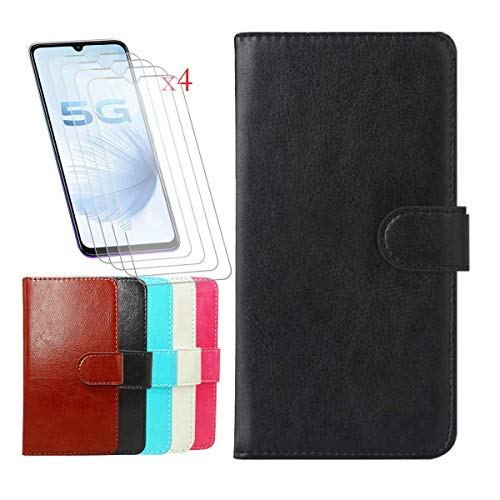 """FZZ Premium PU Leather Wallet Flip Protective Case for Nuu Mobile G5 (6.55"""") + [4 Pack] Screen Protector Film Tempered Glass, Magnetic Flip Cover with Card Slots and Stand Shell - Black"""