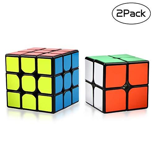 Yojoloin Speed Cube Magic Cube 3x3x3 Puzzle Magic Cube Suavemente rápido Rápido Inteligente Twisty Cube Puzzle Fácil Giro para el Cerebro Entrenamiento Juguete niños Adultos (2 Pack