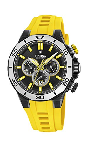 Festina Unisex Erwachsene Chronograph Quarz Uhr mit Silikon Armband F20450/1