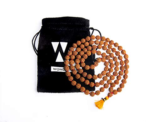 Wonder Care Authentic Rudraksh Mala-5 Gesicht 108 + 1 Perle - Echtes Himalaya Rudraksha Samen Religiöse Verzierung Rosenkranz Japa Mala Halskette - Importiert aus Nepal