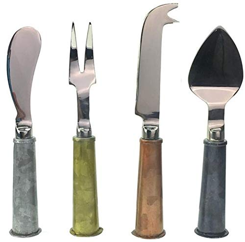 Galrose CHEESE KNIFE SET Premium Quality - Galvanized Iron Handle Stainless Steel Blade Vintage 4 Piece Cheese Knives Set for Home Entertainer Cheese Lover 6th Wedding Anniversary Gift Idea