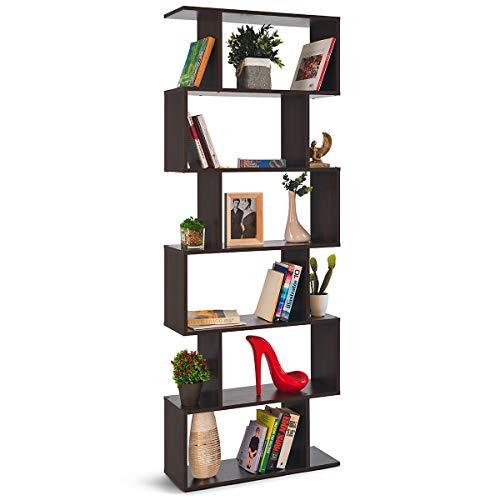 COMIFORT Estantería - Librería de Estilo Nórdico, Moderna y Minimalista, con 7 Baldas de Gran Capacidad, Robusta y Resistente, de Color Wengue