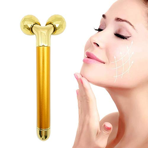 Electric 3d Roller Beauty Instrument,electric Beauty Bar Anti-aging Pulse Massager,24k Gold Skin Care Face Massager Anti-aging Machine Slimming Cheeks Skin