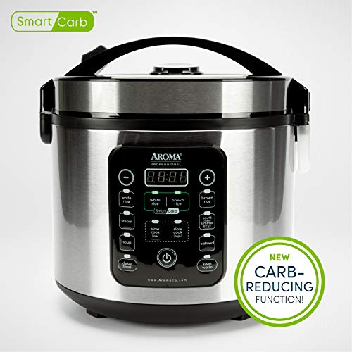 Aroma Housewares ARC-1120SBL Smart Carb, Food Steamer, Multigrain Slow Cooker with Keep Warm Function and Timer, 20 Cooked 10 Cup Carbohydrate Reduced Rice, stainless steel