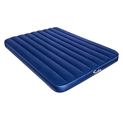 Sable Camping Air Mattress Queen Size Inflatable Air Bed with Extra Thick Flocked Top & PVC, for Car Tent Camping Hiking Backpacking, Height 8""