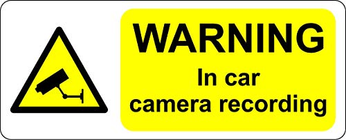In auto camera opname CCTV veiligheidsbord - Zelfklevende sticker 200mm x 80mm