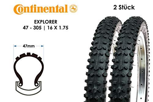 2 Stück 16 Zoll Continental Explorer 47-305 Fahrrad Kinder Trekking Touren Reifen 16x1.75 Mantel