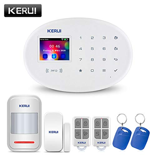 KERUI W20 GSM WiFi 2,4 GHz Funk Alarmanlage Komplettsystem Haus Büro Sicherheit Einbruchschutz Alarm System DIY Kit mit Auto Dial/SMS/RFID/iOS Android/App-Steuerung Push - Deutschsprachiges (Basic)