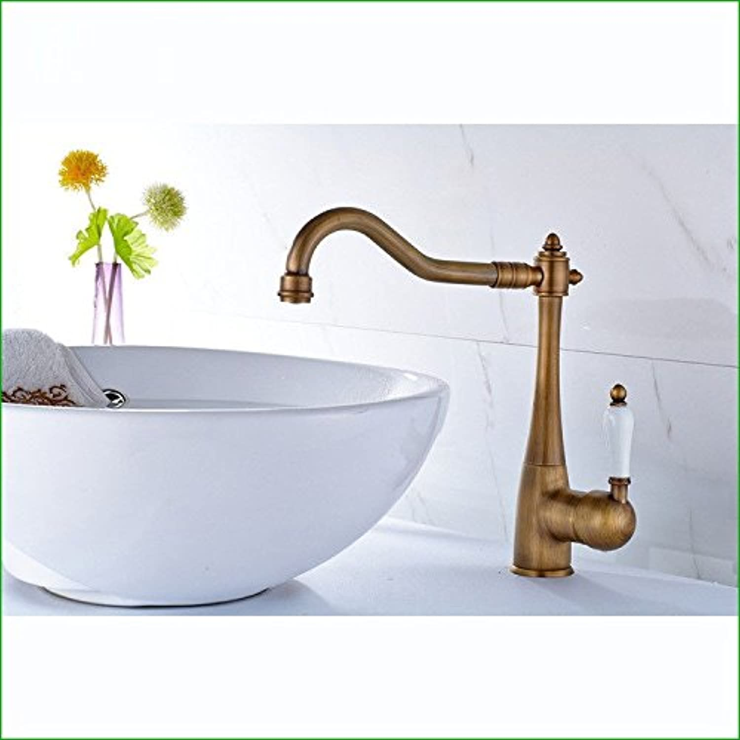 Bijjaladeva Antique Kitchen Sink Mixer Tap The Antique Copper Single Handle Single Hole and Cold Water Faucet hot and Cold Basin Antique Table Basin Kitchen Faucet