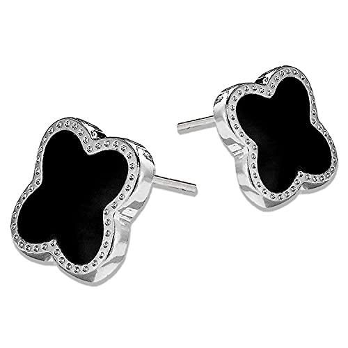 Reccisokz Pendientes de plata 925, en forma de flor, pendientes de trébol de cuatro hojas, pendientes feliz, regalos para mujer