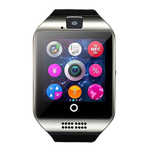 1,54 Zoll Bildschirm Blautooth Smart Uhr Fitness Uhr Schrittzähler Sitzende Aktivität Tracker Smart Armband Telefon Band mit Kamera (Silber Grau)