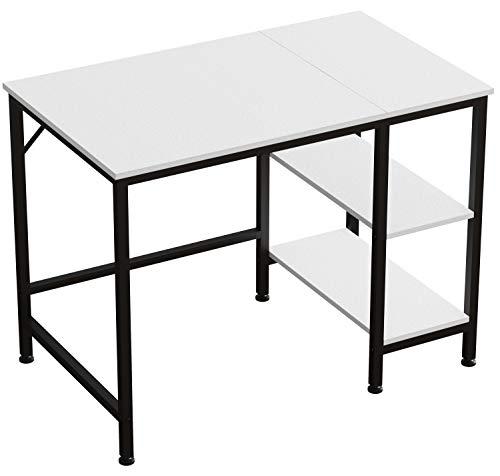 JOISCOPE Escritorio de Computadora,Mesa de Ordenador,con 2 Niveles de Estante a la Izquierda o a la Derecha,Mesa Industrial Hecha de Madera y Metal,100 x 60 x 75 cm(Nuevo Acabado Blanco)