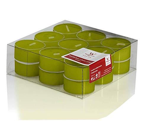 INNA-Glas Lot 5 x Lot de 18 Bougies Chauffe-Plat - Bougie de Table Kenny, Vert, 1,8cm, Ø3,8cm, 4h - Petites Bougies - Bougie décorative