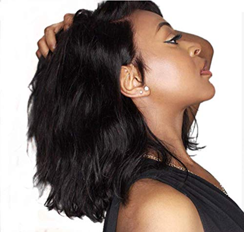 LUFFYWIG 8A Brazilian Virgin Human Hair Lace Front Wig Glueless Short Bob Wavy with Baby Hair...