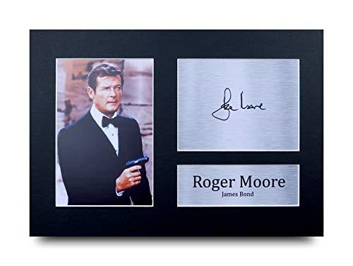 HWC Trading Roger Moore A4 Ungerahmt Signiert Gedruckt Autogramme Bild Druck-Fotoanzeige Geschenk Für James Bond 007 Filmfans