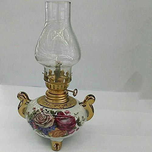 HJJ Leichte Petroleumlampe aus Glas, handgefertigte Keramiklampe, Vintage Petroleumlampe aus Glas, alte Öllampe, Alkohollampe, Retro-Kristalllampe,A