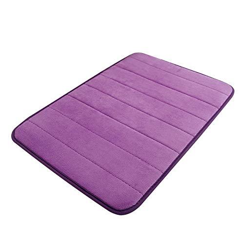 Alfombrilla de baño , Estera de baño suave para el hogar, estera de ducha de baños de lana, adecuado para cocina y sala de estar Alfombra antideslizante ( Color : Purple , Specification : 40cmx60cm )