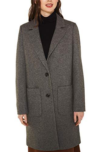 ESPRIT Damen 129Ee1G004 Mantel, Grau (Dark Grey 5 024), Large (Herstellergröße: L)