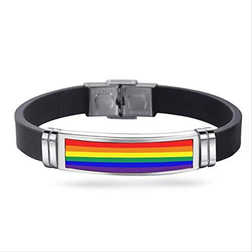 Gay Pride Charm Bracelet Hebilla Pulsera Rainbow Flag Gay Jewelry Brazalete De Acero Inoxidable Pulseras De Silicona 21 出门 Ajustable