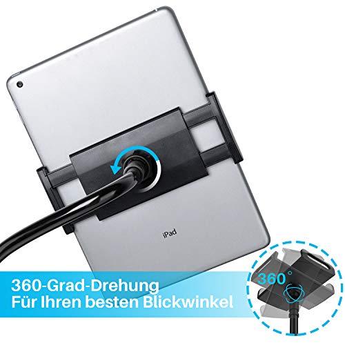 Tryone Schwanenhals Tablet Halterung, Tablet Halter - Flexible Arm Lazy Bett Tablethalterung für für Ipad/Handy/Switch/Samsung Galaxy Tabs/Kindle Fire HD usw, 95cm Gesamtlänge