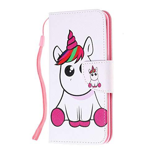 Coopay Custodia Galaxy S7 Edge Unicorno Bambino Animali Bianco Cover Samsung S7 Edge Flip a Libro Pelle PU Protettiva con Supporto Libretto Portafoglio 360 Gradi Antiurto Rigida + Cordino da Polso