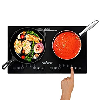 NutriChef Double Induction Cooktop 120V Portable Digital Ceramic Dual Burner w/Kids Safety Lock-Works with Flat Cast Iron Pan,1800 Watt,Touch Sensor 12 Controls PKSTIND48
