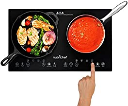NutriChef Double Induction Cooktop 120V Portable Digital Ceramic Dual Burner w/Kids Safety Lock-Works with Flat Cast Iron Pan,1800 Watt,Touch Sensor, 12 Controls PKSTIND48
