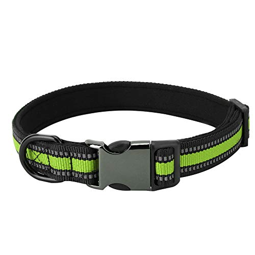 GSX Collar de Perro Collar para Perro Durable Pet Dog Y Cat Collar Personalizada Pet ID Collar DE Seguridad Reflectante (Verde Fluorescente M)