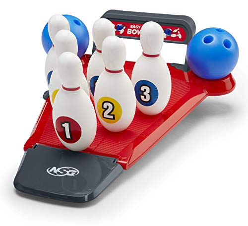 NSG Easy Up Pins Bowling Set for Kids - Mini Bowling Alley with 6 Pins and 2 Balls - Designed for Kids with Hinged Pins That Don't Tip