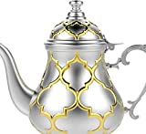 TETERA MARROQUI Tetera inducción árabe realizada en Acero Inoxidable- Tetera con Filtro Integrado y asa Auténtica Tradicional Modelo Grabado con Diseño Clásico Arabe Dorado de 1.2ml