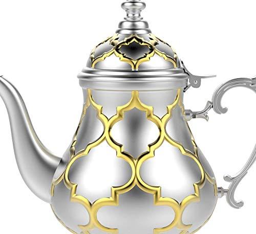 TETERA MARROQUI Tetera inducción árabe realizada en Acero Inoxidable- Tetera con Filtro Integrado y asa Auténtica Tradicional Modelo Grabado con Diseño Clásico Arabe Dorado de 1200ml
