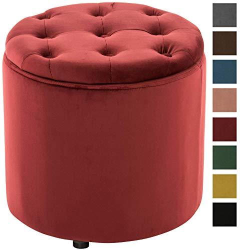 CLP Pouf Contenitore Pantin in Velluto Design Chesterfield I Poggiapiedi Divano Contenitore con Coperchio I Sgabello Puff con Piedini Rosso