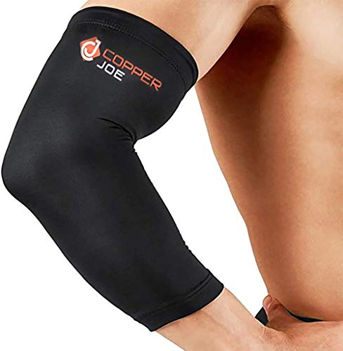 Copper Joe Compression Recovery Elbow Sleeve - Highest Copper Content Elbow Brace for Arthritis, Golfers orTennisElbow, Tendonitis. Elbow Support Arm Sleeves Fit for Men and Women (Large)