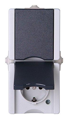 Kopp 947556008 Pro AQA Opbouw-vochtige ruimte schakelaarprogramma geaard stopcontact 2-voudig met deksel verticaal