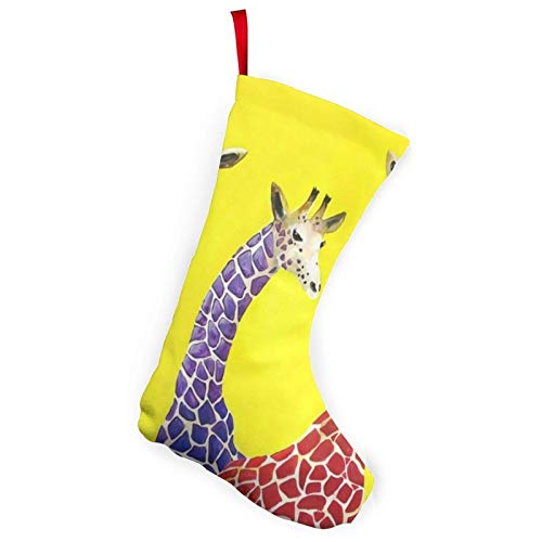 XCNGG Calcetines navideños Calcetines novedosos Giraffes Christmas Stockings- 10 Inch Christmas Stockings Fireplace Hanging Stockings for Family Christmas Decoration Holiday Season Party Decor